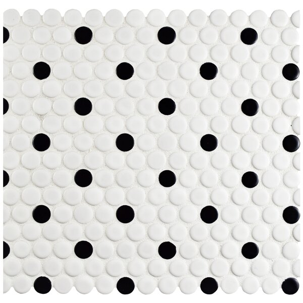 Retro 0.75 x 0.75 Porcelain Mosaic Tile in Matte White/Black by EliteTile