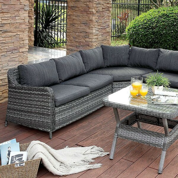 Mckenzie 3 Piece Rattan Sectional Seating Group with Cushions (Set of 3) by Gracie Oaks