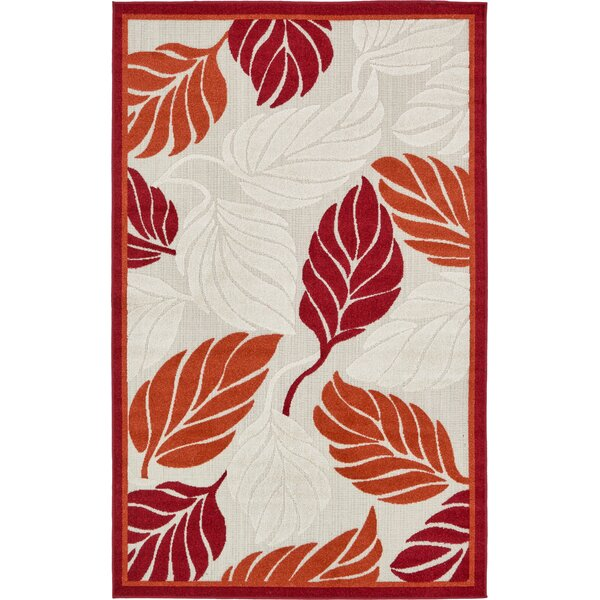 Westerly Beige/Red Indoor/Outdoor Area Rug by Bay Isle Home