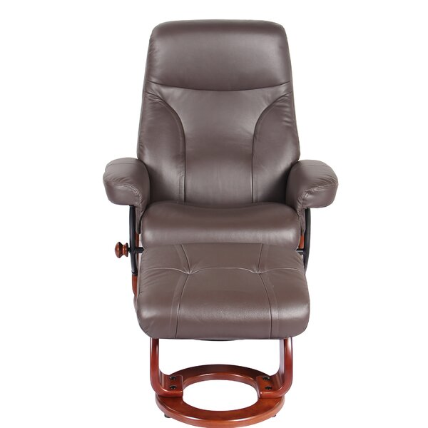 M lanie Leather Manual Swivel Recliner with Ottoman