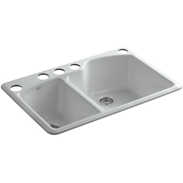 Wheatland 33 x 22 x 9-5/8 Under-Mount Large/Medium Double-Bowl Kitchen Sink with Oversize 5 Faucet Holes by Kohler