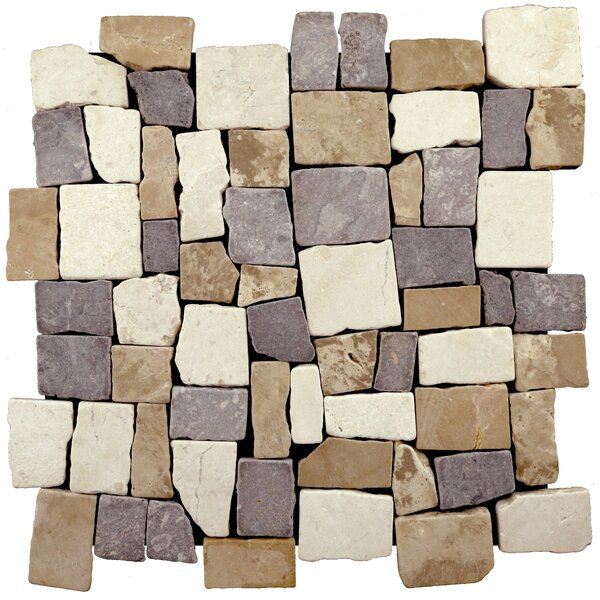 Blocks Natural Stone Mosaic Tile in Tan/Gray by Pebble Tile