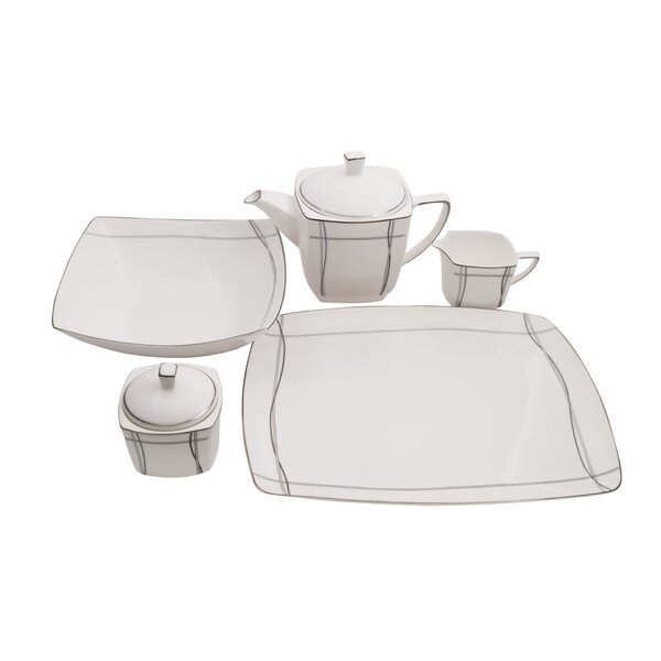 Imperial Square Bone China Traditional Serving 5 Piece Dinnerware Set by Shinepukur Ceramics USA, Inc.