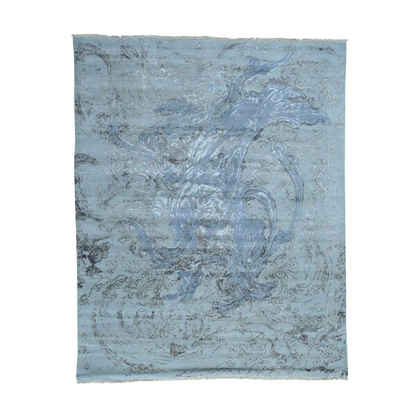 One-of-a-Kind Grissett Abstract Hand-Knotted Silk Blue Area Rug by World Menagerie