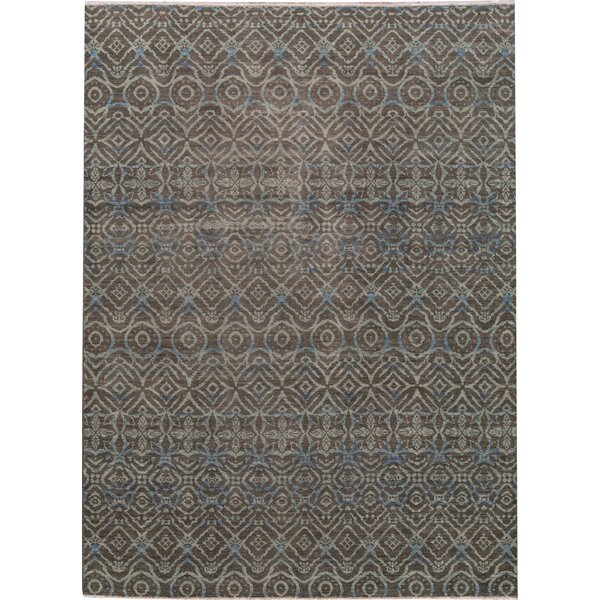 Hand-Knotted Wool Light Blue/Brown Area Rug