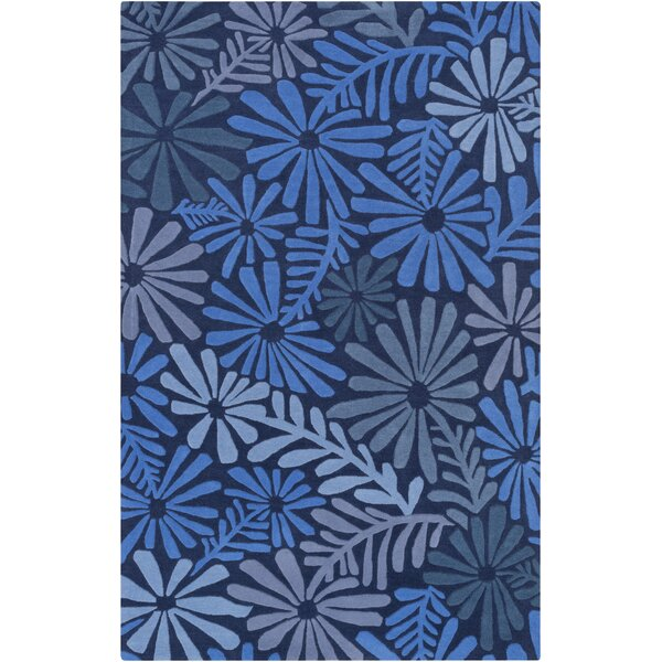 Ophiuchi Hand Tufted Wool Blue Area Rug by Mercury Row