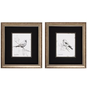 Song Bird III / IV 2 Piece Framed Painting Print Set by Three Posts