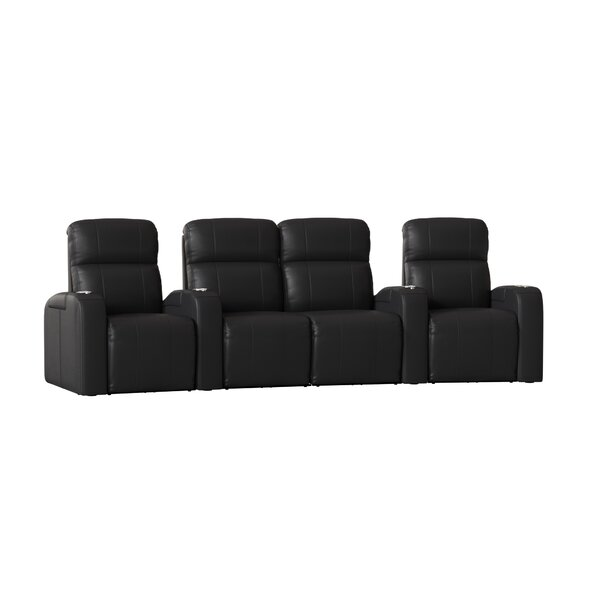 Home Theater Row Curved Seating With Chaise Footrest (Row Of 4) By Latitude Run