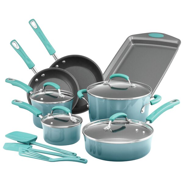 14 Piece Classic Brights Porcelain Non-stick Cookware Set by Rachael Ray