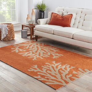Hooked Orange Indoor/Outdoor Area Rug