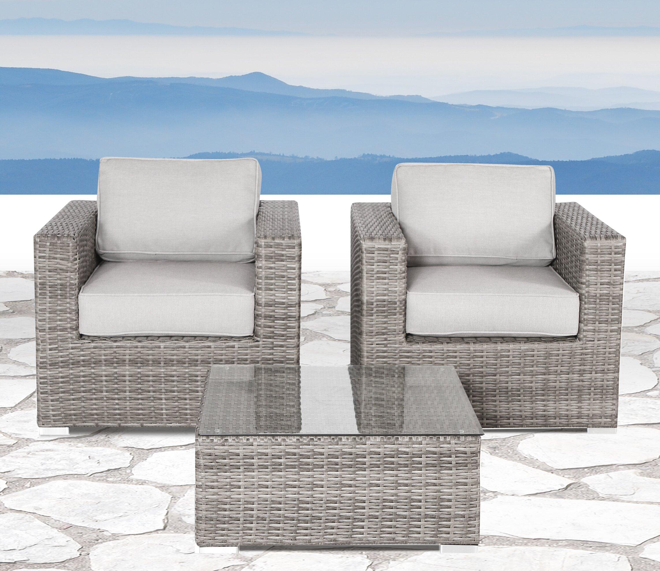 Enjoyable Deandra 3 Piece Conversation Set With Cushions Machost Co Dining Chair Design Ideas Machostcouk