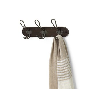 Affordable Belmont Wall Mount 3-Hook Wood Rack ByWilliston Forge