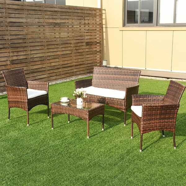 Sumrall 4 Piece Rattan Sofa Seating Group with Cushions by Winston Porter