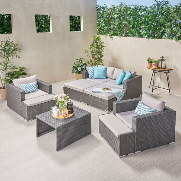 Roselee Outdoor 9 Piece Rattan Sofa Seating Group with Cushions by Brayden Studio