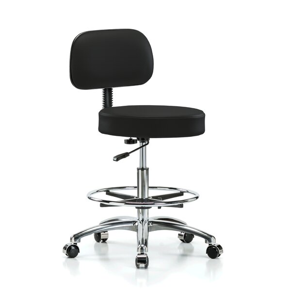 Height Adjustable Exam Stool with Basic Backrest and Foot Ring by Perch Chairs & Stools