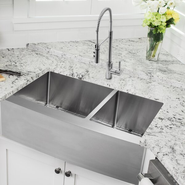 36 L x 20.75 W Apron Front 60/40 Double Bowl Undermount Stainless Steel Kitchen Sink with Faucet by Soleil