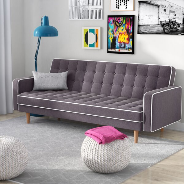 Noe Mid-Century Modern 2 Tone Convertible Sofa by Zipcode Design
