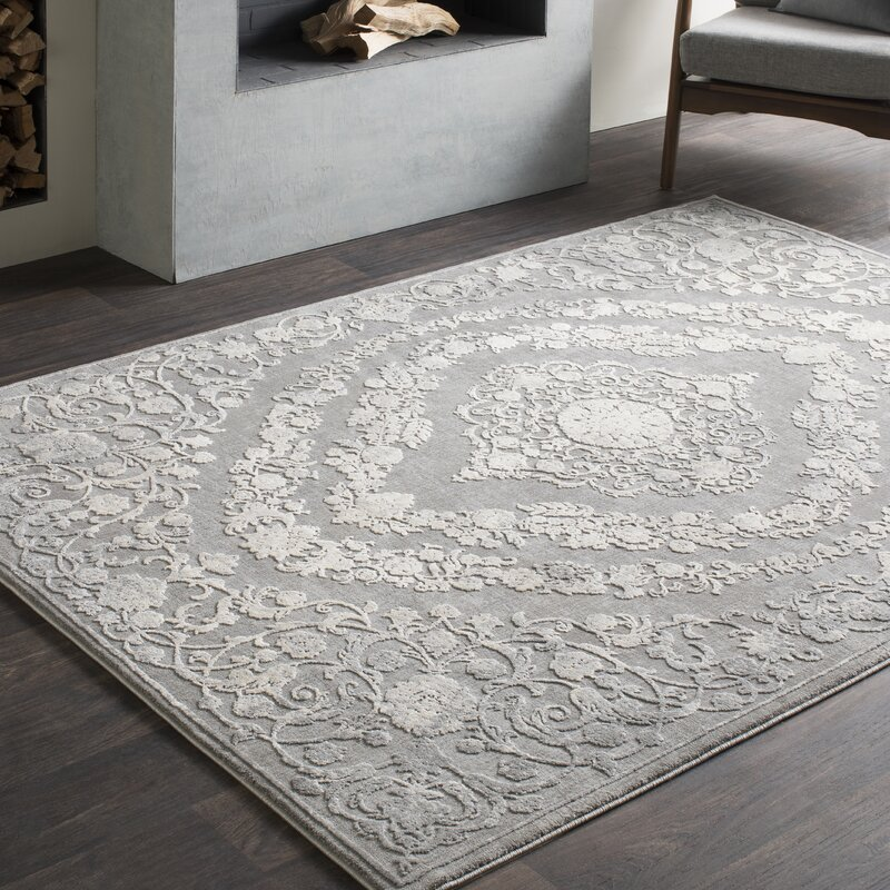 This Vintage Persian Medallion Gray Area Rug