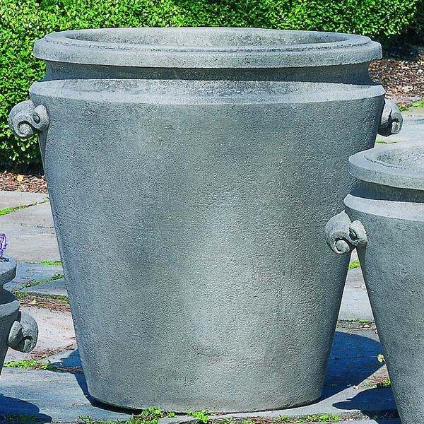 Scroll Handle Cast Stone Pot Planter by Campania International