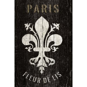 Refurbished Fleur de Lis Textual Art on Wrapped Canvas by Lark Manor