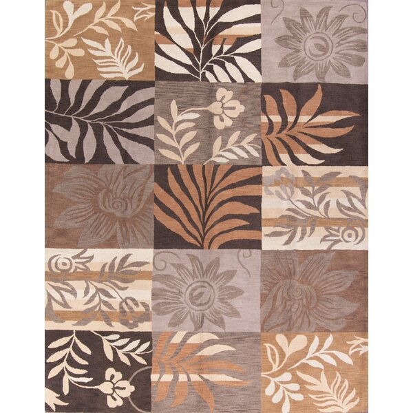 Robinson Hand-Tufted Wool Brown/Beige Area Rug by Fleur De Lis Living