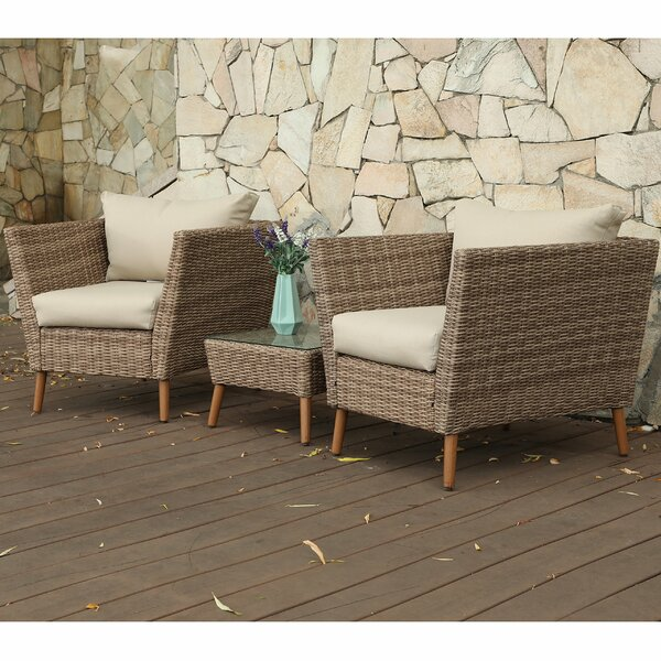 3 Piece Rattan Seating Group with Cushions by PHI VILLA