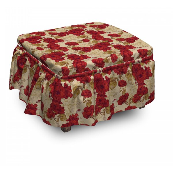 Vintage Romantic Roses 2 Piece Box Cushion Ottoman Slipcover Set By East Urban Home