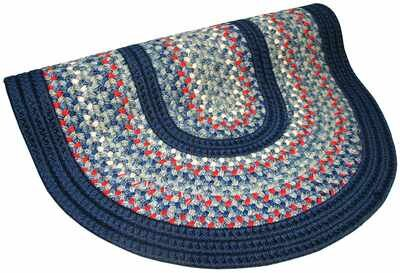 Pioneer Valley II Olympic Blue with Dark Blue Solids Multi Round Rug by Thorndike Mills