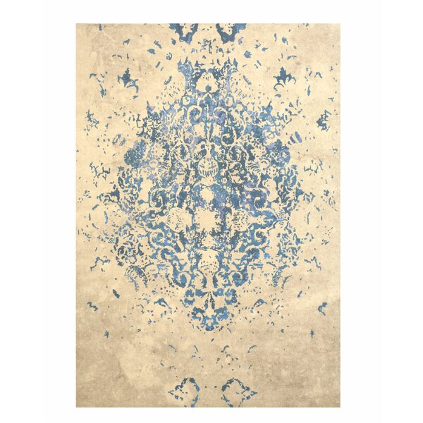 Phares Medallion Distressed Blue/Beige Area Rug by Bungalow Rose