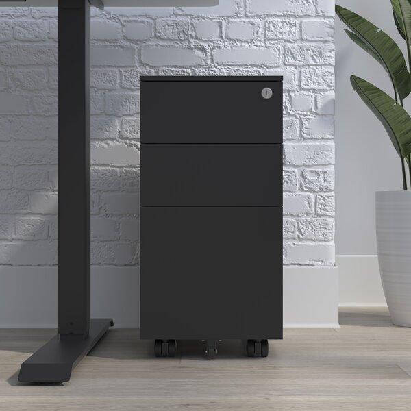 Slim Metal 3-Drawer Mobile Vertical Filing Cabinet