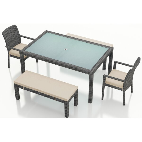 District 5 Piece Sunbrella Dining Set with Cushions by Harmonia Living