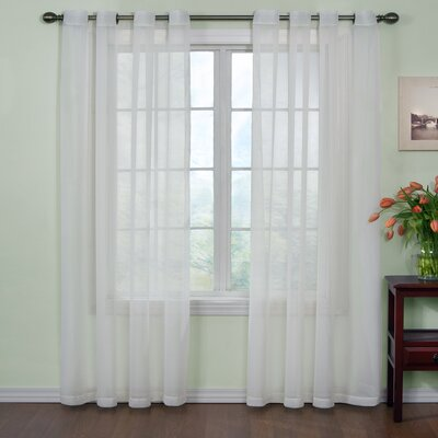 "Odor Neutralizing Voile Solid Sheer Grommet Single Curtain Panel Arm & Hammer⢠Curtain Fresh⢠Size per Panel: 120"" L x 59"" W, Curtain Color: White"