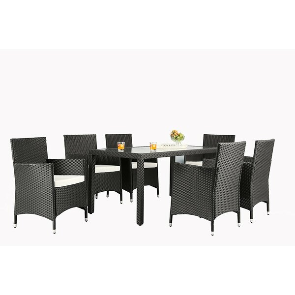 Modern  Bridgette Outdoor Complete 7 Piece Dining Set With Cushions By Andover Mills Cool
