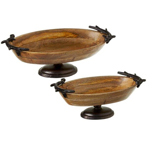 Imran 2 Piece Oval Pedestal Stand Platter Set by Loon Peak