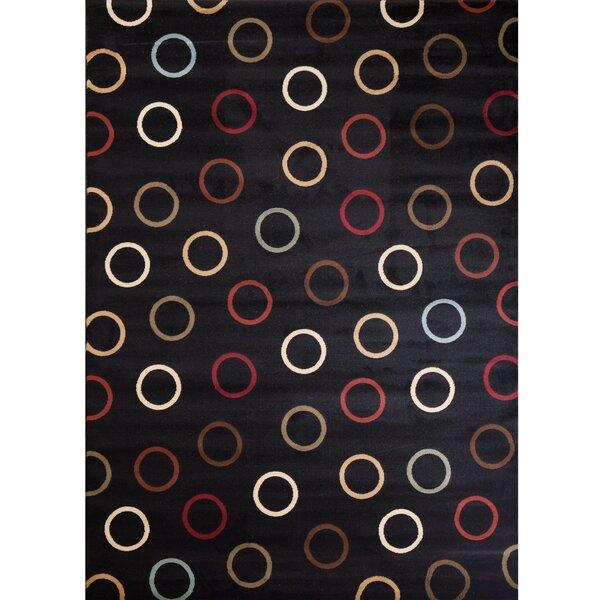 Soho Tribeca Circles Black Area Rug by Threadbind