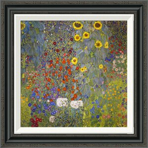 'Farm Garden With Sunflowers' by Gustav Klimt Framed Painting Print by Global Gallery
