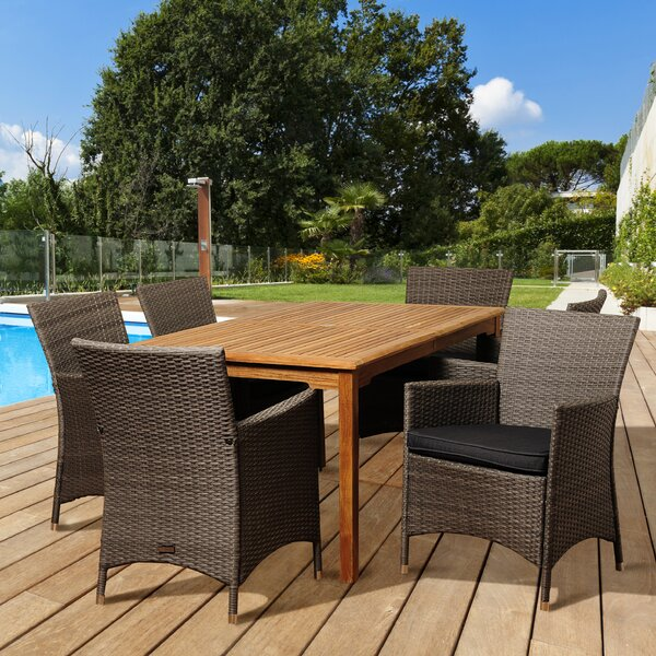 Dowd 7 Piece Teak Dining Set With Cushions by Beachcrest Home