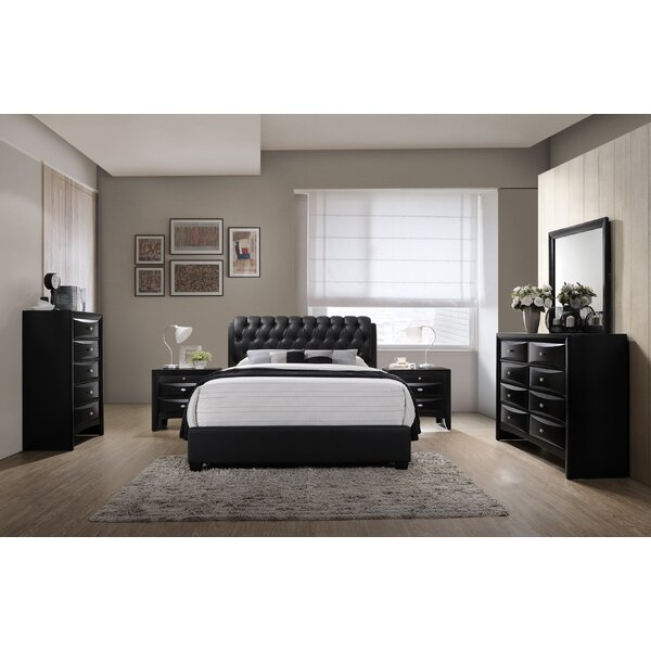Markes Wood Bonded Leather Standard 5 Piece Bedroom Set by Wrought Studio