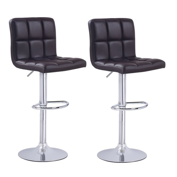 Sandidge Adjustable Height Swivel Bar Stool (Set of 2) by Brayden Studio