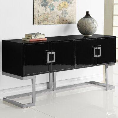 "AllModern Alexei 64"" Wide 4 Drawer Console Table  Color (Base/Top): Silver/Black"