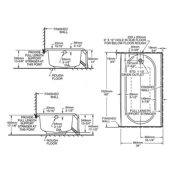 Princeton 60 x 34 Alcove Soaking Bathtub by American Standard