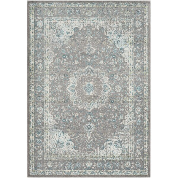 Maleisha Silver Gray/Teal Area Rug by Ophelia & Co.