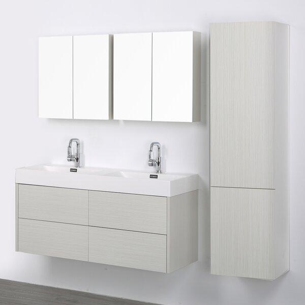 47 Wall-Mounted Double Bathroom Vanity Set with Mirror
