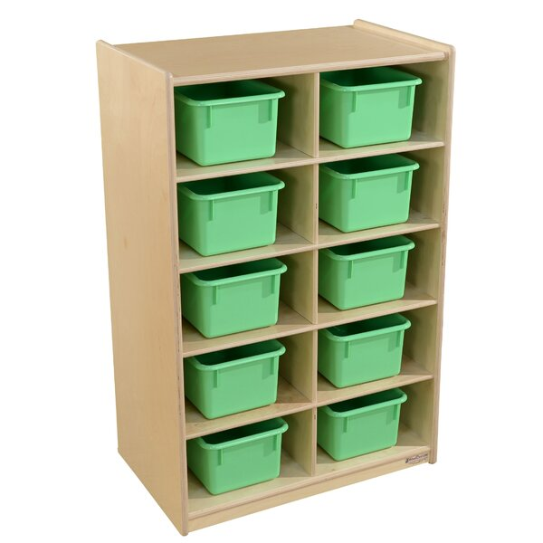 10 Compartment Cubby with Trays by Wood Designs