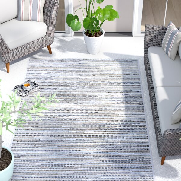 Lorenzo Taupe/Champagne/Blue Indoor/Outdoor Area Rug by Langley Street