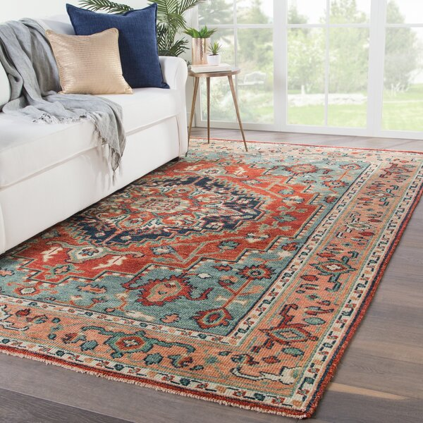Ed Hand-Knotted Wool Red/Blue Area Rug by Bloomsbury Market
