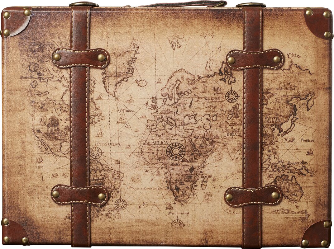 World menagerie prem old world map leather vintage style 2 piece prem old world map leather vintage style 2 piece trunk set gumiabroncs Gallery