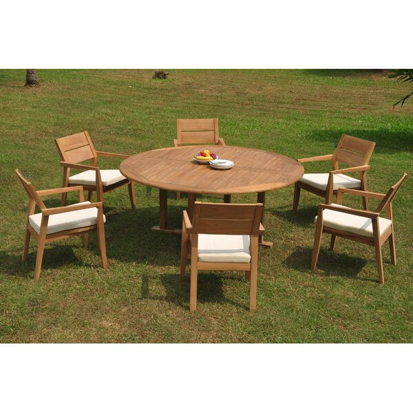SandpiperCove 7 Piece Teak Dining Set by Rosecliff Heights