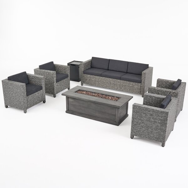 Sunglow Outdoor 7 Piece Sofa Seating Group with Cushions by Breakwater Bay