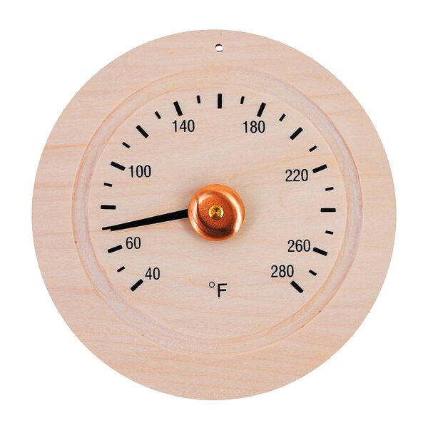 Round Pine Wood Sauna Gage Thermometer by ALEKO